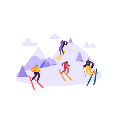 mountain skiing characters in goggles and ski suit vector image