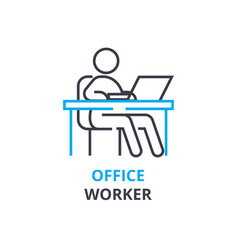 Office worker concept outline icon linear sign vector