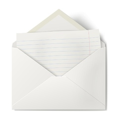 Opened envelope with lined sheet of paper inside vector image