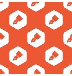 Orange ink pen nib pattern vector image