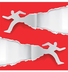Paper running men vector image