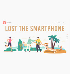 people lose their gadgets landing page template vector image