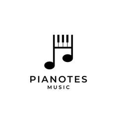 Piano and music notes logo design vector