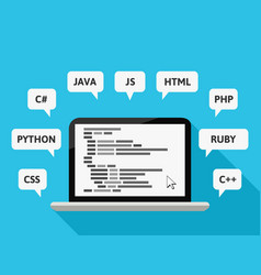 Programming languages with computer and code vector