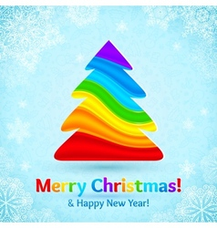 Rainbow colors stripes plastic Christmas tree vector