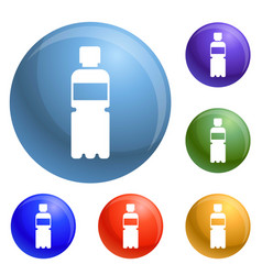 recycle plastic bottle icons set vector image