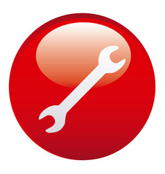 Red wrench emblem icon vector