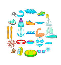 rest on the yacht icons set cartoon style vector image