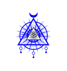 sacred masonic symbol all seeing eye the third e vector image