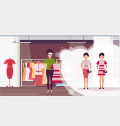 Saleswoman holding dress wearing digital glasses vector