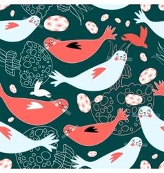 sea pattern seals and sea jellyfish vector image