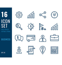 set business line icons vector image