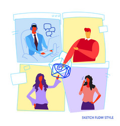 Set different poses businesspeople office workers vector