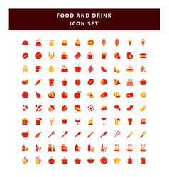 set food and drink icon with flat style design vector image