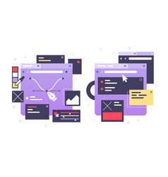 set icons web design laptop diagram online vector image