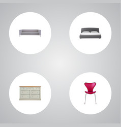 Set of furniture realistic symbols with sofa vector