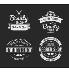 Set vintage barber shop logo and beauty spa vector