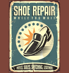 shoes repair shop vintage sign vector image