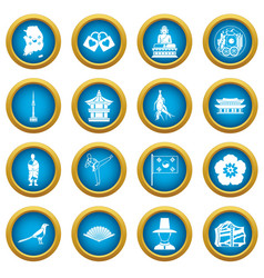 South korea icons blue circle set vector