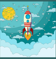 Space rocket flying in space vector