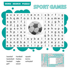 Sport games themed word search puzzle for kids vector
