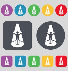 Spotlight icon sign A set of 12 colored buttons vector