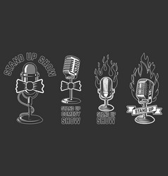 stand up show set emblems with retro vector image