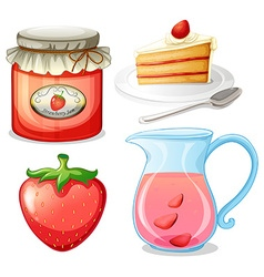 Strawberry cake and jam vector image