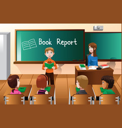 Student doing a book report vector