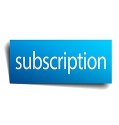 Subscription blue paper sign isolated on white vector