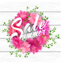 summer sale lettering with blooming flowers vector image