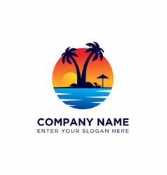 sunset logo design template vector image