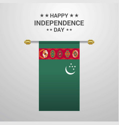 Turkmenistan independence day hanging flag vector