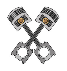 Two crossed pistons spare parts car design image vector
