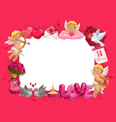 valentines day frame hearts cupids and gifts vector image