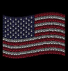 waving united states flag stylization of flask vector image