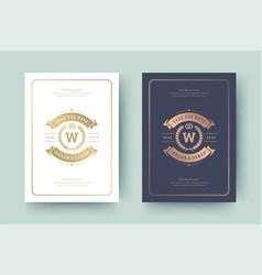Wedding invitation save date card golden vector