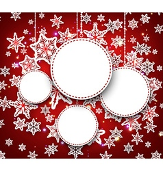 Winter round background with snowflakes vector