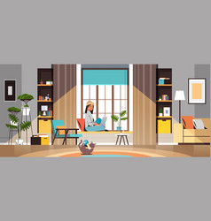 Woman freelancer using laptop working at home vector