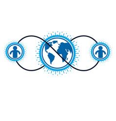 world and person creative logo unique symbol vector image