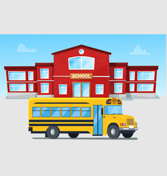 yellow bus in front school building vector image