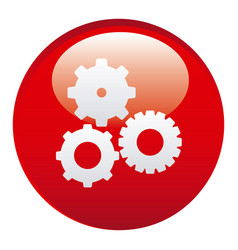 red gears emblem icon vector image