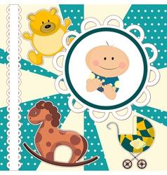 scrapbooking card for baby boy vector image vector image