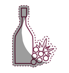 sticker wine bottle with grape fruit vector image vector image