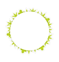 White pattern with green leaves vector image
