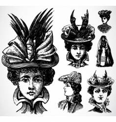 women and hats vector image vector image
