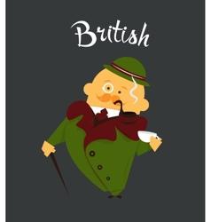 British man or character cartoon citizen of vector image