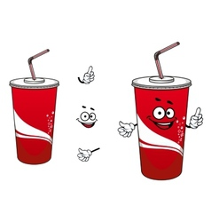 Cola or soda paper cup cartoon character vector image vector image