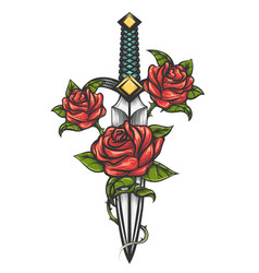 dagger knife and rose flowers drawn in tattoo vector image vector image