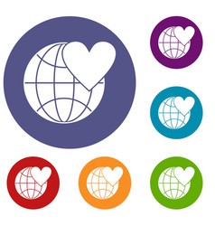 earth world globe with heart icons set vector image vector image